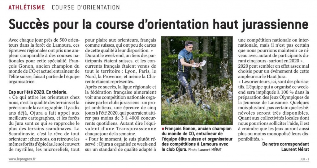 """Le Progrès, édition du Jura, 25 mai 2018 - """"succès pour la course d'orientation haut jurassienne"""""""